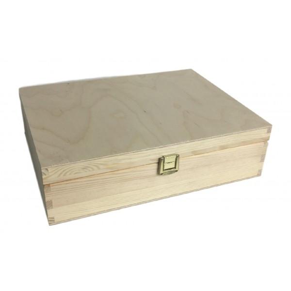Skrzynka drewniana z deklem ze sklejki z zapinką 29x22x8 cm