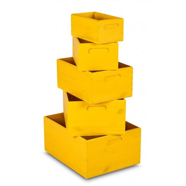 Zestaw drewnianych skrzynek 5w1 Żółty