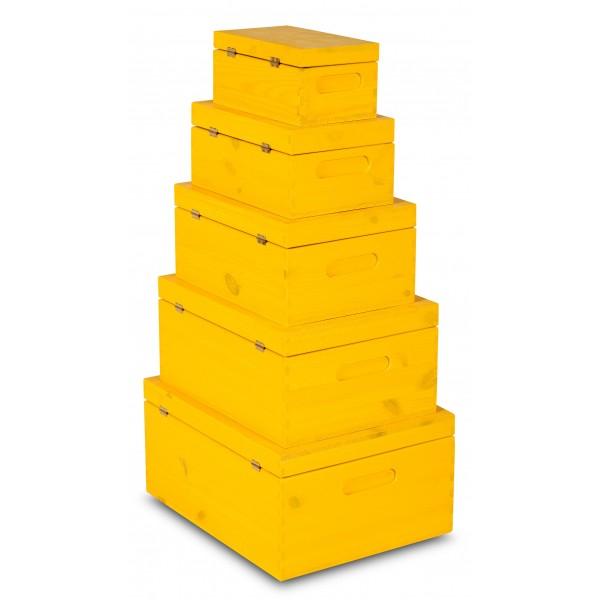 Zestaw drewnianych skrzynek z deklem 5w1 Żółty
