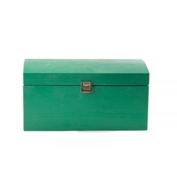 Kuferek drewniany 35x25x18,5 cm Zielony