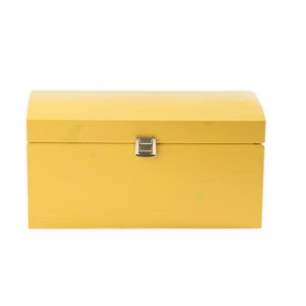 Kuferek drewniany 26x16x13,5 cm Żółty