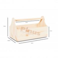 Narzędziownik-nosidełko drewniany 34x18x20,5 cm Silver grey