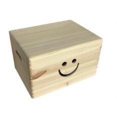 Skrzynka drewniana z deklem 40x30x23cm Uśmiech