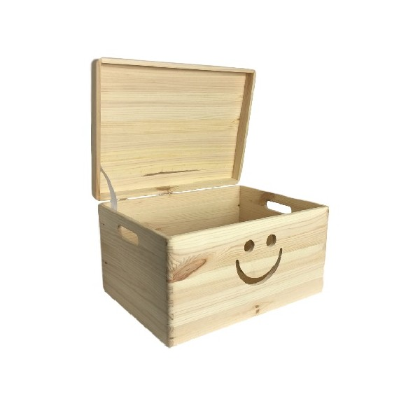 Drewniana skrzynka zamykana 40x30x23 cm z motywem uśmiech