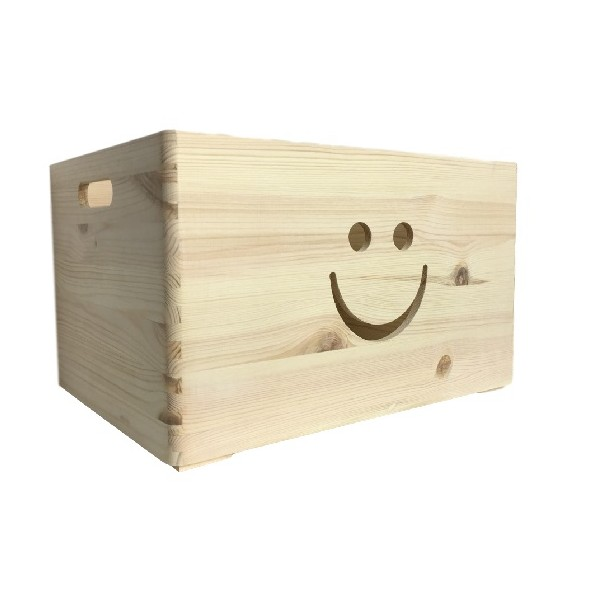 Skrzynka drewniana 40x30x23 cm Uśmiech