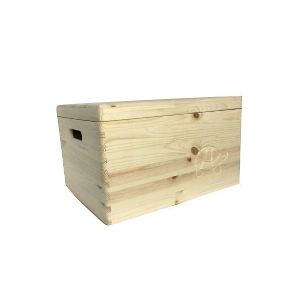 Drewniana skrzynka zamykana 40x30x23 cm z motywem żółwia