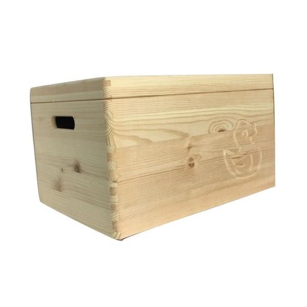 Drewniana skrzynka zamykana 40x30x23 cm z motywem kaczki
