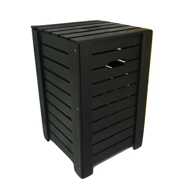 Kosz na bieliznę drewniany 35x35x55 cm Czarny