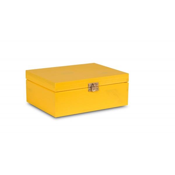 Herbaciarka drewniana 21x16x8,5 cm Żółta