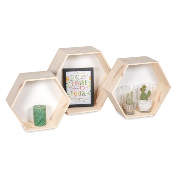 "Półki drewniane plaster miodu ""heksagon"""