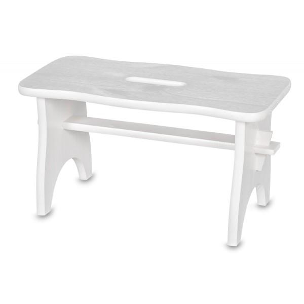 Stołek drewniany 38x18x21 cm Biały
