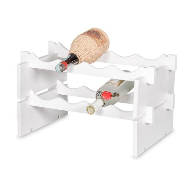 Stojak drewniany na butelki 2-poziomy 50x32x27 cm Biały
