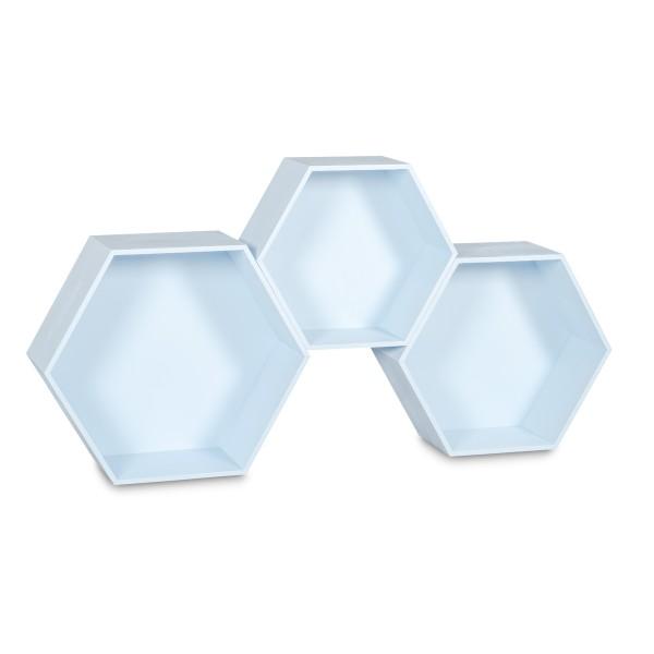 """Półki drewniane plaster miodu """"heksagon"""" Niebieskie"""