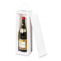 Skrzynka drewniana na wino 10x11x35 cm Biała
