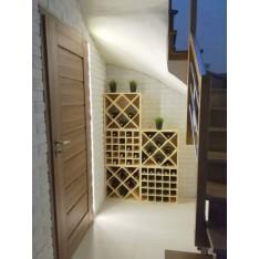 Regał drewniany na wino krzyżak 52x25x52 cm