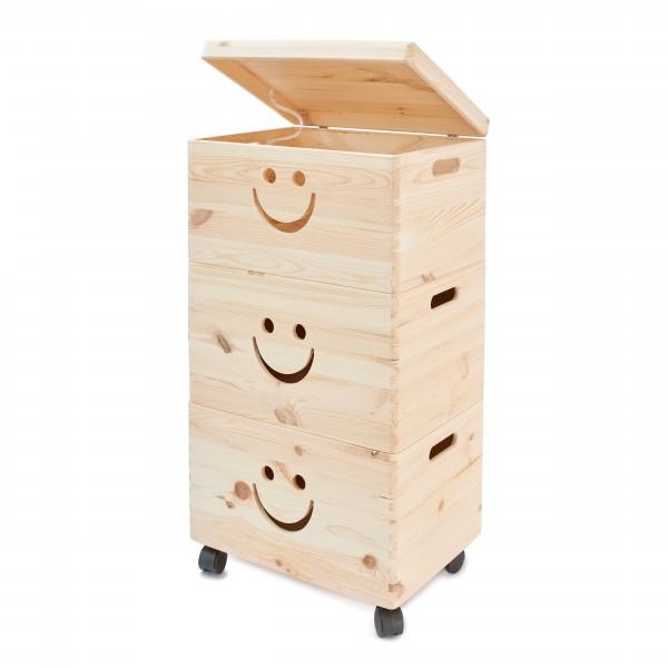 Pojedyncza skrzynka drewniana otwarta 40x30x23 cm z uśmiechem