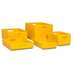 Skrzynka drewniana 40x30x6 cm Singal yellow