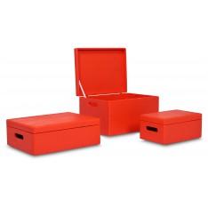 Skrzynka drewniana z deklem 40x30x23cm Pure red
