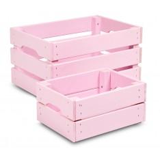 Skrzynka drewniana duża 46x31x25 cm Light pink