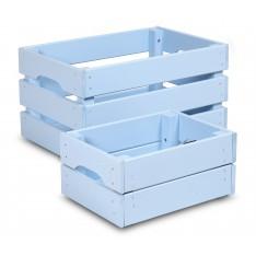 Skrzynka drewniana duża 46x31x25 cm Pastel blue