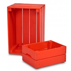Skrzynka drewniana duża 46x31x25 cm Pure red