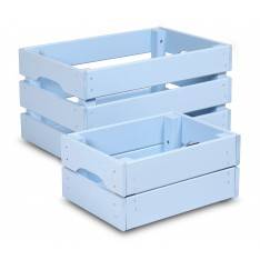 Skrzynka drewniana mała 31x23x15 cm Pastel blue