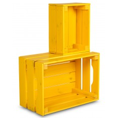 Skrzynka drewniana mała 31x23x15 cm Signal yellow