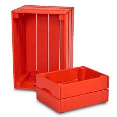 Skrzynka drewniana mała 31x23x15 cm Pure red