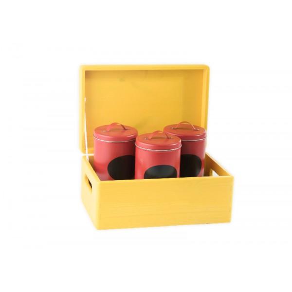 Drewniana skrzynka dekoracyjna 30x20x13,5 cm Żółta