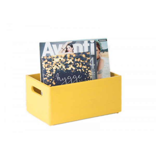 Skrzynka drewniana 30x20x13,5cm Żółta