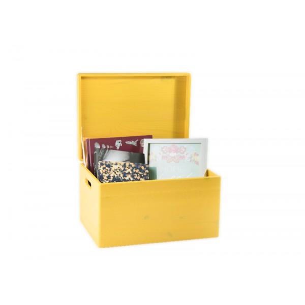 Drewniana skrzynka zamykana 40x30x23 cm Żółta