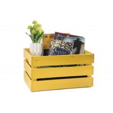 Skrzynka drewniana duża 46x31x25 cm Żółta