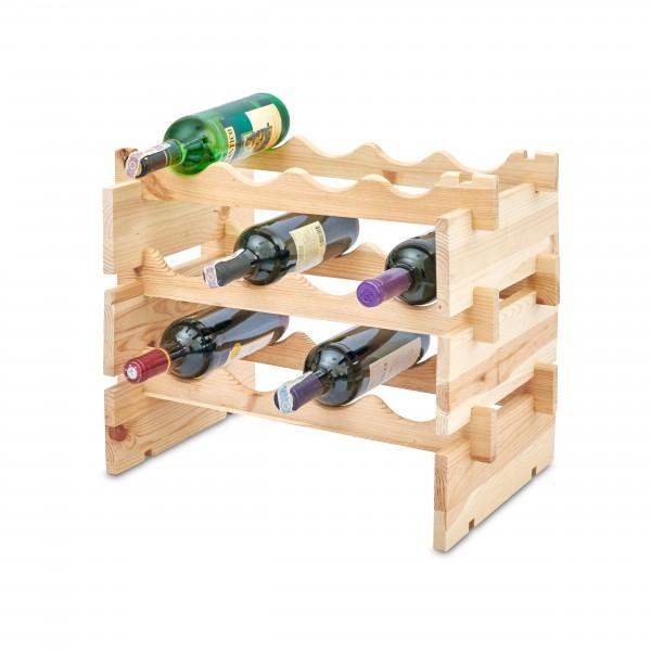 Stojak drewniany na butelki 3-poziomy 50x32x40 cm