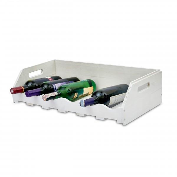 Regał drewniany na wino szuflada 60x30x15 cm Biały