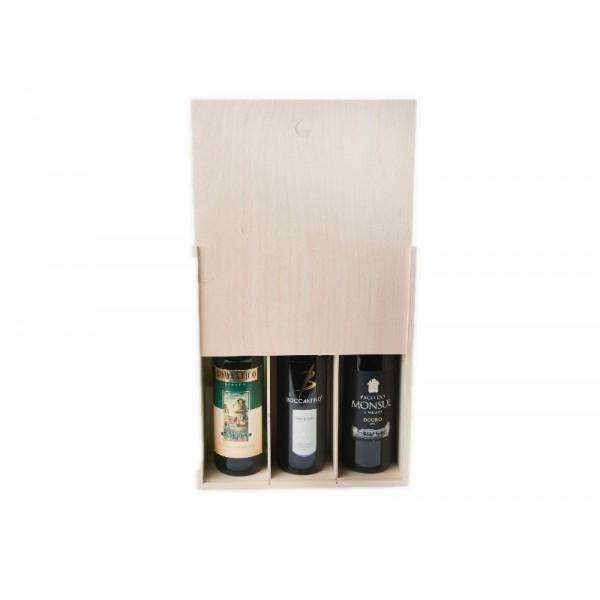 """Skrzynka drewniana 30x11x35 cm na wino """"3"""""""