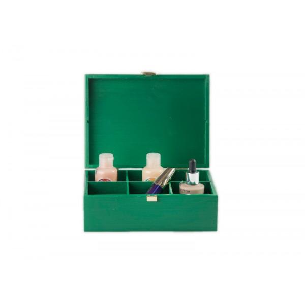 Herbaciarka drewniana 21x16x8,5 cm Zielona