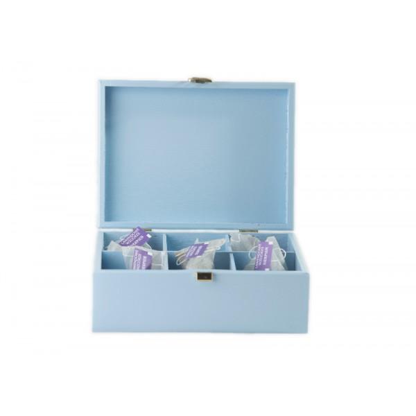 Herbaciarka drewniana 21x16x8,5 cm Niebieska