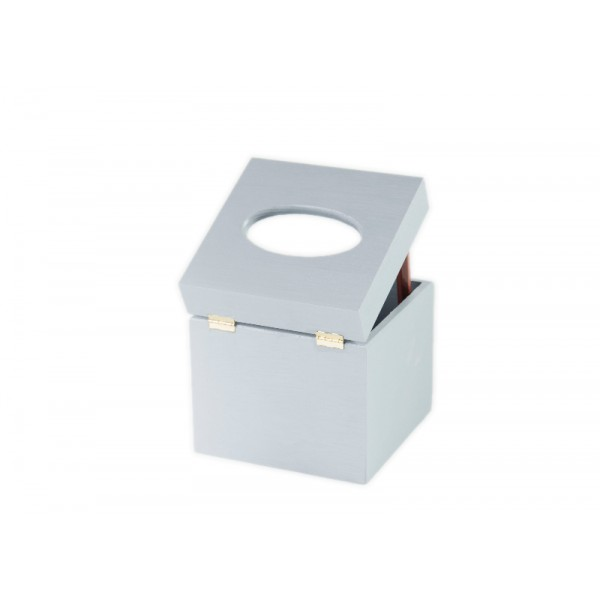 Chustecznik drewniany 13x13x14 cm Silver grey