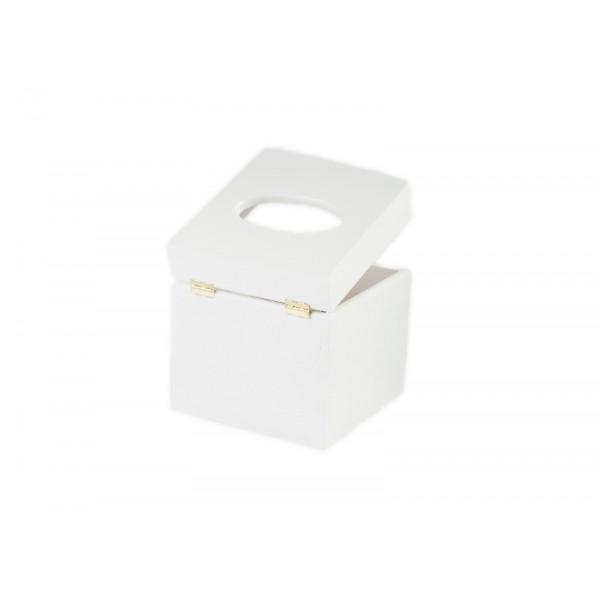 Chustecznik drewniany 13x13x14 cm Biały