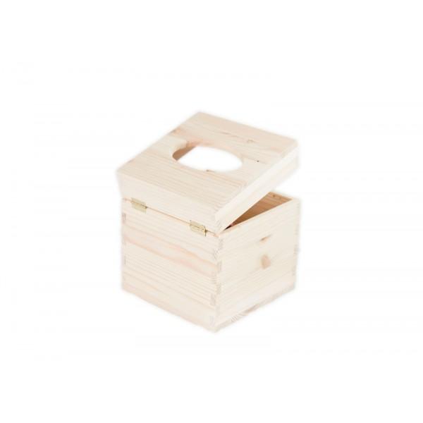 Chustecznik drewniany 13x13x14 cm