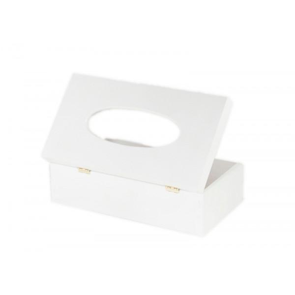 Chustecznik drewniany 25x13x9 cm Biały