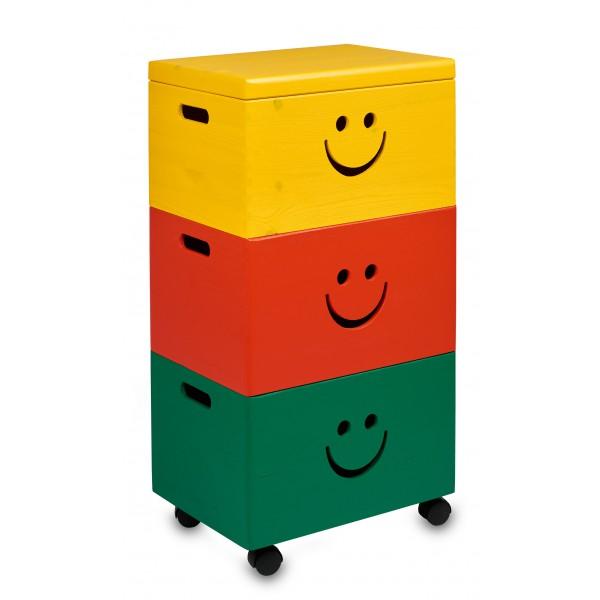 Trio uśmiech drewniane 39x30x74cm Signal yellow, Pure red, Mint green
