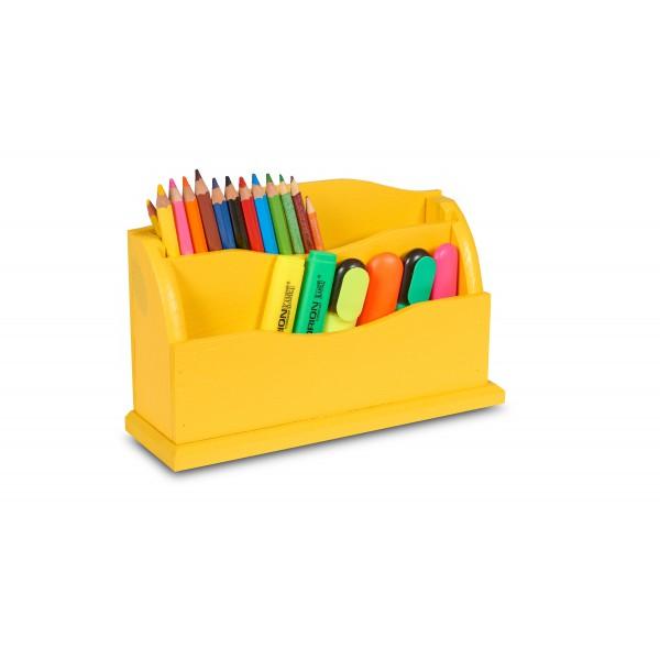 Przybornik drewniany 27x8x16,5 cm Żółty