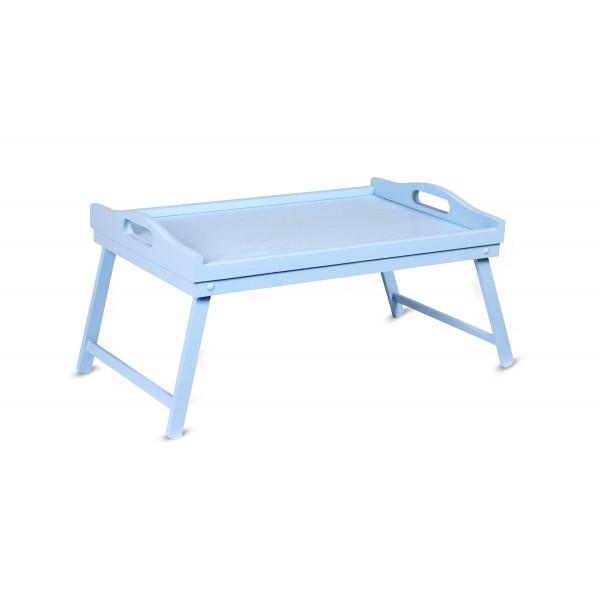 Taca z nogami drewniana 51x32x24 cm Niebieska