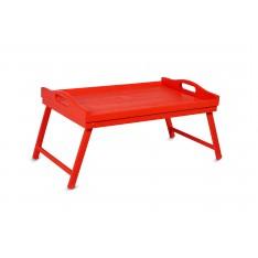 Taca z nogami drewniana 51x32x24 cm Czerwona