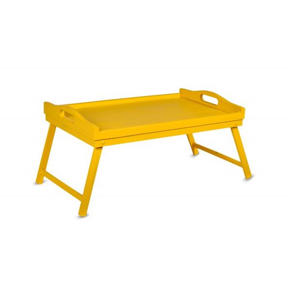 Taca z nogami drewniana 51x32x24 cm Żółta