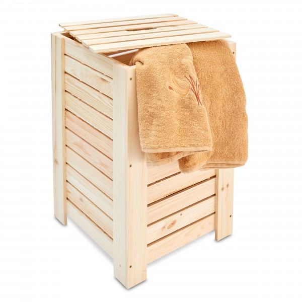 Kosz na bieliznę drewniany 35x35x55 cm