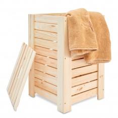 Kosz na bieliznę drewniany 35x25x55 cm Natural wood