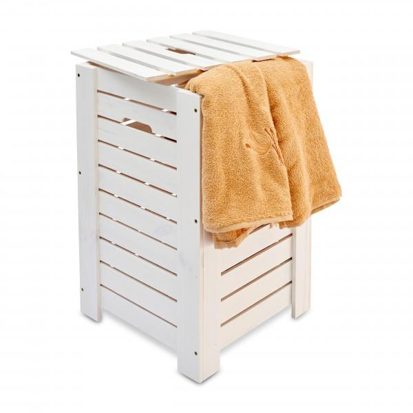 Kosz na bieliznę drewniany 35x35x55 cm Biały