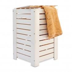 Kosz na bieliznę drewniany 35x25x55 cm Signal white
